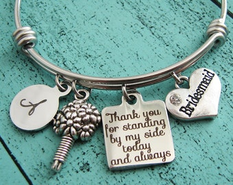 bridesmaid gift, wedding gift, bridesmaid bracelet, bridal party gift, bridesmaid jewelry Thank you for standing by my side today and always