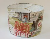 "Chinoiserie Linen Drum Lampshade 16"" Diameter X 11"" Tall - Ready to Ship"