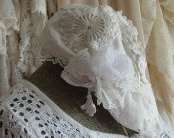 Shabby lace womens hat, romantic, french, gypsy boho