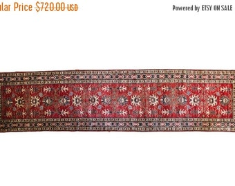 HAPPY SUMMER 10% OFF Discounted 3x11 Vintage Red Pak Caucasian Rug Runner