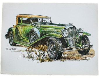 Duesenberg Car Vintage Lithograph