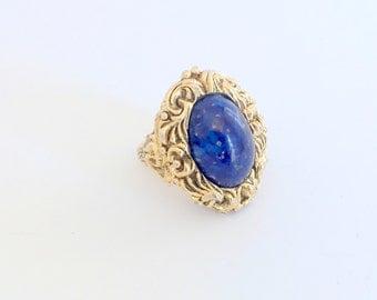 Vintage Perfume Ring Faux Lapis Lazuli Big and Bold