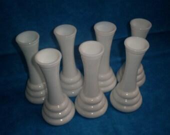 Vintage, Milk Glass Set of 5 Beehive Vases. #1 Was 19.00.