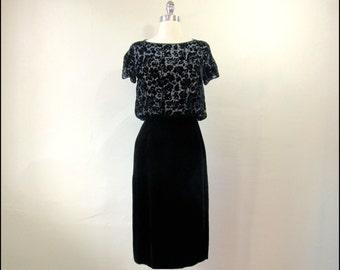 Black Abe Schrader Velvet Burnout Dress