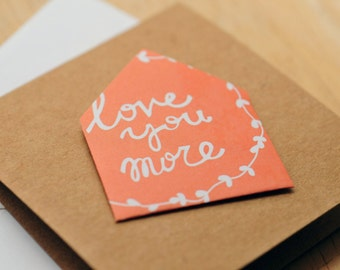SALE-Love You More Mini Card, Set of 2, Blank Card, Enclosure Card, Love Note, Journailing Card, Scrapbooking, Gift Card, Gift Tag