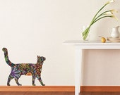 ON SALE 20% OFF Walking Cat Wall Sticker - Repositionable Floral Cat Wall Decal