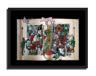 SALE- Wizard of Oz by L. Frank Baum - Book Sculpture 12x16x3 Shadowbox FRAMED - Free Shipping