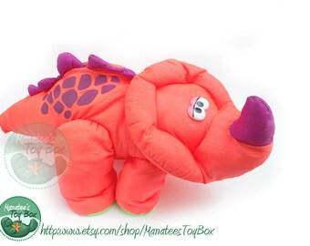 Vintage Fisher Price Dino-raurs Plush Dinosaur Triceratops Neon Coral Orange