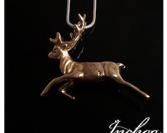 Bronze Deer Pendant, Rudolph, Stocking Filler, Reindeer Necklace, Winter Jewelry, Christmas Gift, Gift for Her, December Gift, Nature