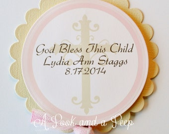 Ivory Pink and Brown Cross Centerpiece Cake Topper - Baptisims and Christenings