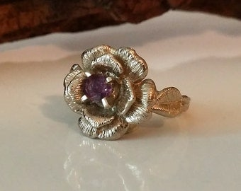 Rose Engagement Ring, Gold, Flower Engagement Ring, Sapphire, Diamond Engagement Ring, Hand Sculpted Engagement Ring by Dawn Vertrees