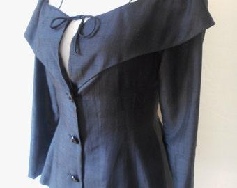 LOUIS MARINO vintage 80's does 50's raw silk peplum jacket top jacket XS/S