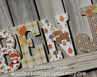 Echo Woodland Forest Animal Theme Letters - Custom Nursery Wooden Letters, Baby Nursery - Designed to Coordinate with Echo Nursery Bedding