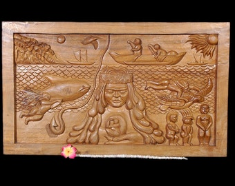 """Hawaiian Mythology w/ Maui & Pele Storyboard 40"""" X 24"""" X 3"""" - Hand Carved   #etsy6036100"""