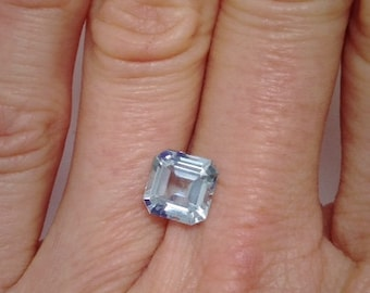 Engagement Ring Blue Aquamarine Gemstone, Asscher cut 2.15 carats, Octagon, diamond alternative, loose gemstone