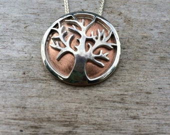 Tree of Life / Sterling Silver and Copper Halloween October Spooky