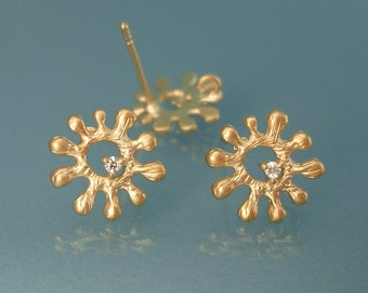 2 Pcs -  Matte Gold Oriental with Cubic Zirconia  Brass Jewelry Making  / 11mm.