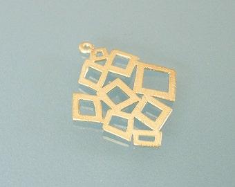 2 Pcs-Geometrical Bable Pendant Matte Gold over Brass Jewelry Making (30x26mm).