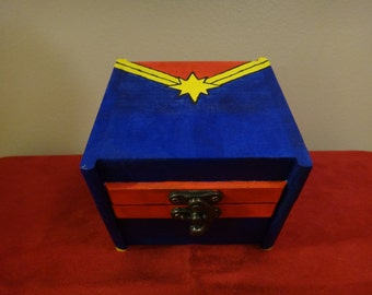 Custom Painted Wooden Keepsake Box - Captain Marvel