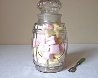 French antique Medium glass jar - French Vintage Glass Jar Molded Glass