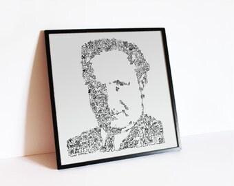 "Martin Heidegger doodle portrait - Philosophy Wall Art - the german philosopher - Ltd edition of 100 - 8"" x 8"" or 12"" x 12 """