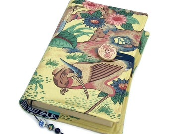 Fabric Book Cover, Bible Wrap, UK Seller, Oriental Dynasty Exotic Birds, Suitable for Hardback or Paperback books