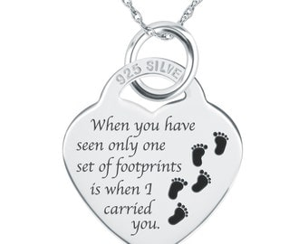 Footprints in the Sand Necklace, 925 Sterling Silver Heart (can be personalised/engraved)