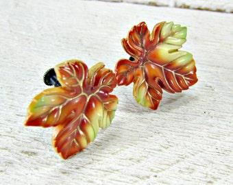 Designer TOSHIKANE ARITA Earrings, Autumn Maple Leaf Earrings, Hand-Painted Porcelain & Silver Earrings, 1940s WWII Jewelry, Gift for Wife