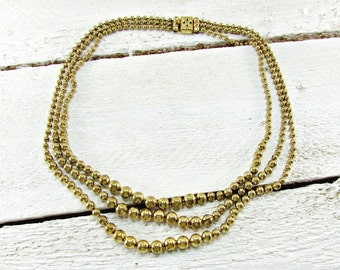 Antique Brass Ball Necklace, Vintage Beaded Bib Necklace, Art Deco Necklace, Triple Three Strand Multi-Strand Necklace, 1930s Jewelry
