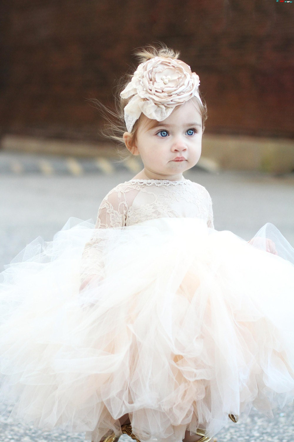 Flower Girl Dress Long Sleeve Lace Tutu Dress Ivory And