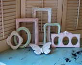 Pretty Collection of Picture Frames - Shabby Chic Pastels - Little Girl - Nursery - 7 Piece Gallery 6 Photo Frames 1 Butterfly