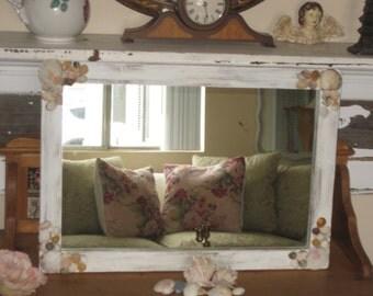 Shabby Beach Cottage - Vintage Wood Framed Mirror - Distressed White -  Sea Shells