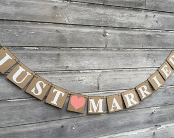 Shabby Chic JUST MARRIED Sign / Wedding Decorations / Just Married Car Banner / Wedding Photo Prop / your color choice