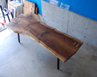 Walnut Slab Dining Table with Maple Butterflys -- READY TO SHIP and on sale!!! --