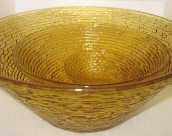 3 Vintage Anchor Hocking nesting bowls yellow Soreno Large Chip Dip Set/ Anchor Hocking Bowls charming,tableware,tabletop Shabby Chic