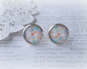 Round Glass Colourful Illustrated Daisy Stud Earrings