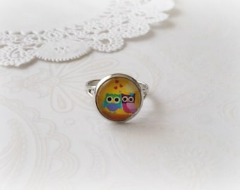 Silver Round Owls In Love Ring