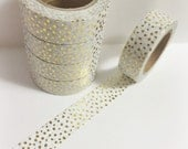 Bright Shiny Metallic Gold Foil and Pale Blue Tiny Polka Dots Washi Tape 11 yards 10 meters 15mm