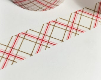 Red Pink Brown Skinny Striped Plaid Washi Tape 11 yards 10 meters 15mm