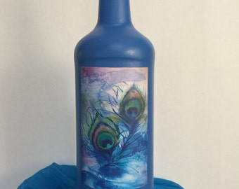 Water Color Peacock Feathers, Decoupage Altered Bottle, Vase, Fragrance Diffuser, Home Decor