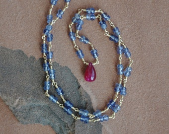 Ruby Necklace, Ruby Pendant, Iolite Necklace, Wire Wrapped Gold, Rosary-Style Chain