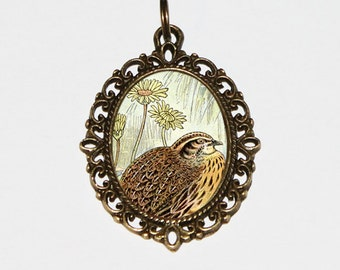 Quail Necklace, Game Bird Jewelry, Flowers, Bronze Oval Pendant