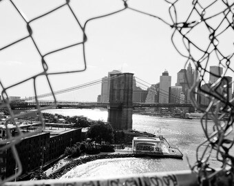 Brooklyn Architecture Photography, New York Art, Brooklyn Bridge Prints, Dumbo Art, Urban Skyline, Black and White New York, Look Through