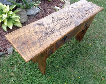 Reclaimed Barn Wood rustic shaker style Bench with Lotus Carving and Tiger eye gemstone inlays