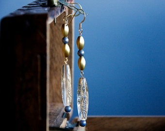 Beaded Long Earrings Golden Blue Beaded Earrings Vintage Style Long Dangle Earrings Bridal Earrings Wedding Jewelry Boho Chic - E291