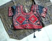 embroidered choli blouse  girls teens belly dance gypsy ethnic tribal gopi wear sunnydaydreams red black adjustable