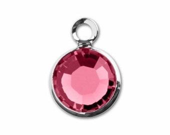 Swarovski Crystal Channel Drop, Genuine Rhodium Plated, 6mm October Rose Birthstone Charm, Real Crystal, DIY Jewelry Making Supplies