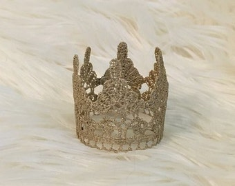 Newborn Baby Crown, Hand Painted Mini Gold Lace Crown, Newborn Photography Prop, Baby Crown, Lace Crown, Boy, Girl,  Prince, Princess