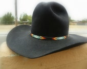 5X beaver custom made cowboy hat with Indian made beaded hat band