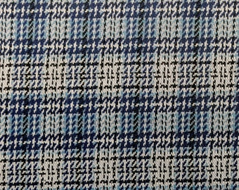 Polyester Double Knit Stretch Fabric - 4 1/2 + Yards - Blue Plaid - Vintage